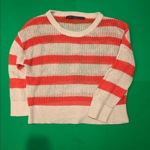 striped thin knit sweater - cropped